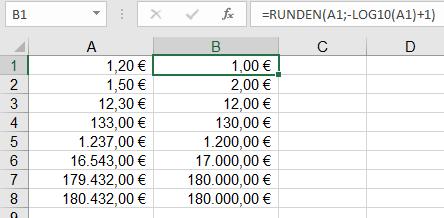 Excel: größenabhängiges Runden